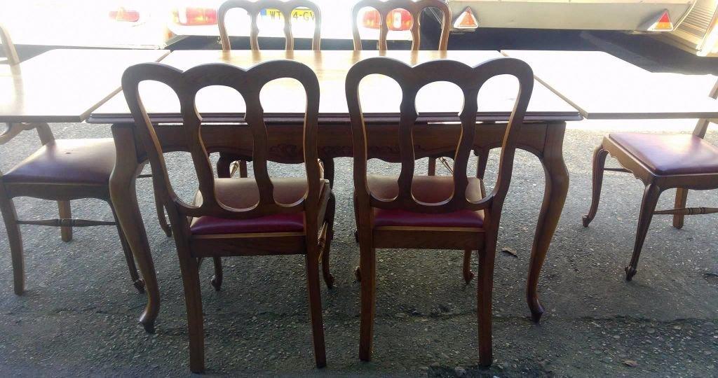 Queen anne eettafel tafel met 6 stoelen j : meubels