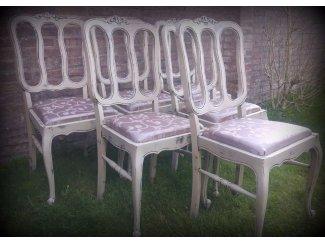 Schitterende Landelijke Brocante Queen Ann eettafel met 6 stoelen
