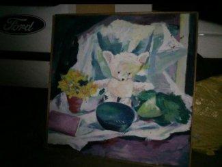 Decoratie schilderij, bijde kanten geschilderd paneel.