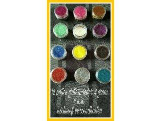 Nail art 12 potjes glitter
