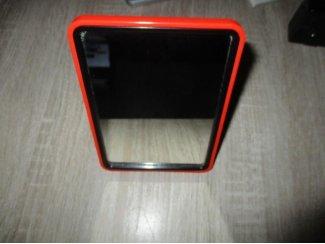 Retro scheerspiegel opklapbaar oranje igst 15 x 10,5 cm Ook