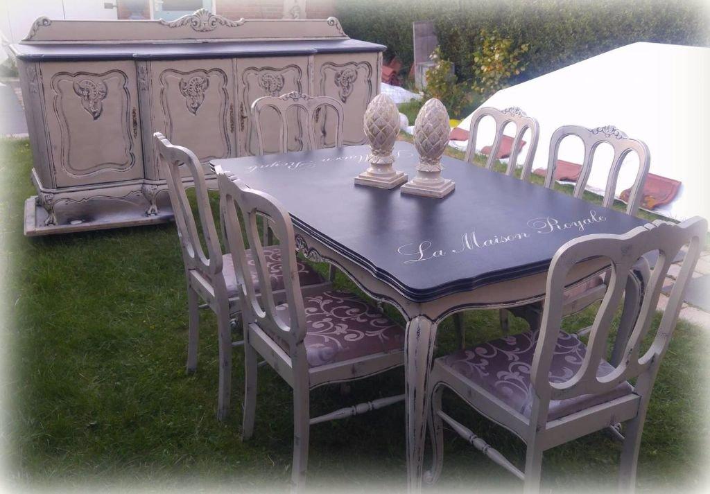 Schitterende landelijke brocante queen ann eettafel met 6 stoelen meubels keuken bar - Eettafel met stoelen ...